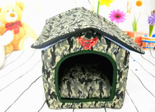 Foldable Camouflage Pets Soft Warm Kennel Dogs Cats Bed Home Shape