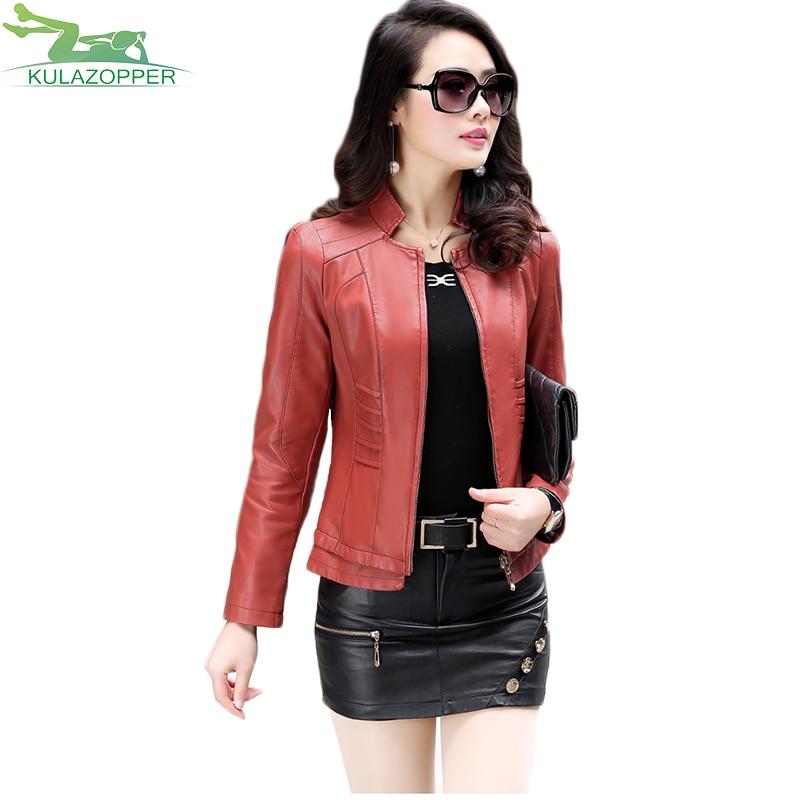KULAZOPPER New Arrival Leather Jacket Women Short Coat Hot Selling PU Leather Jacket Cool Big Size