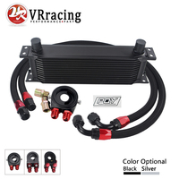 VR UNIVERSAL 13 ROWS OIL COOLER OIL FILTER SANDWICH ADAPTER BLACK SS NYLON STAINLESS STEEL BRAIDED