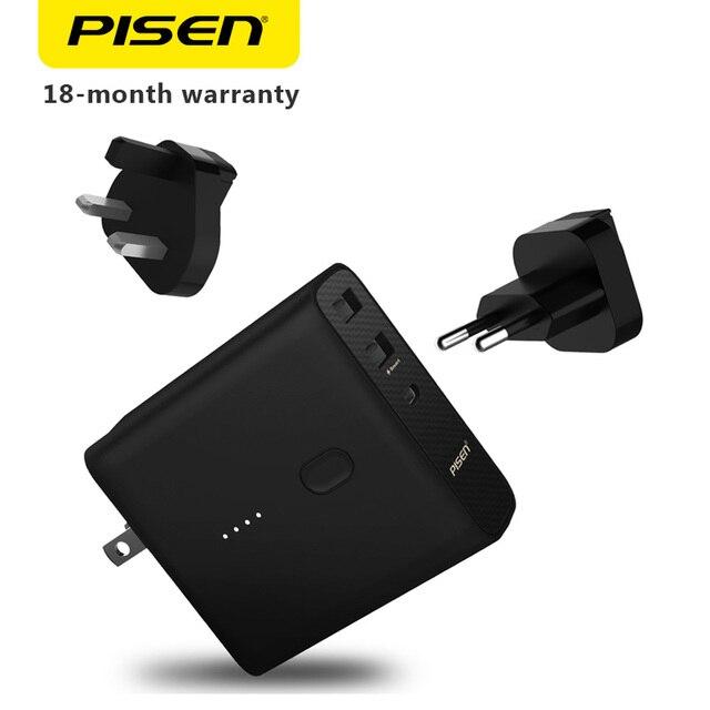 Pisen 2-в-1 Повер Банк Настенное Зарядное устройство Тип-C 2.1A Smart 3-Порты и разъёмы Выход AC складной адаптер Универсальный USB Зарядное устройство