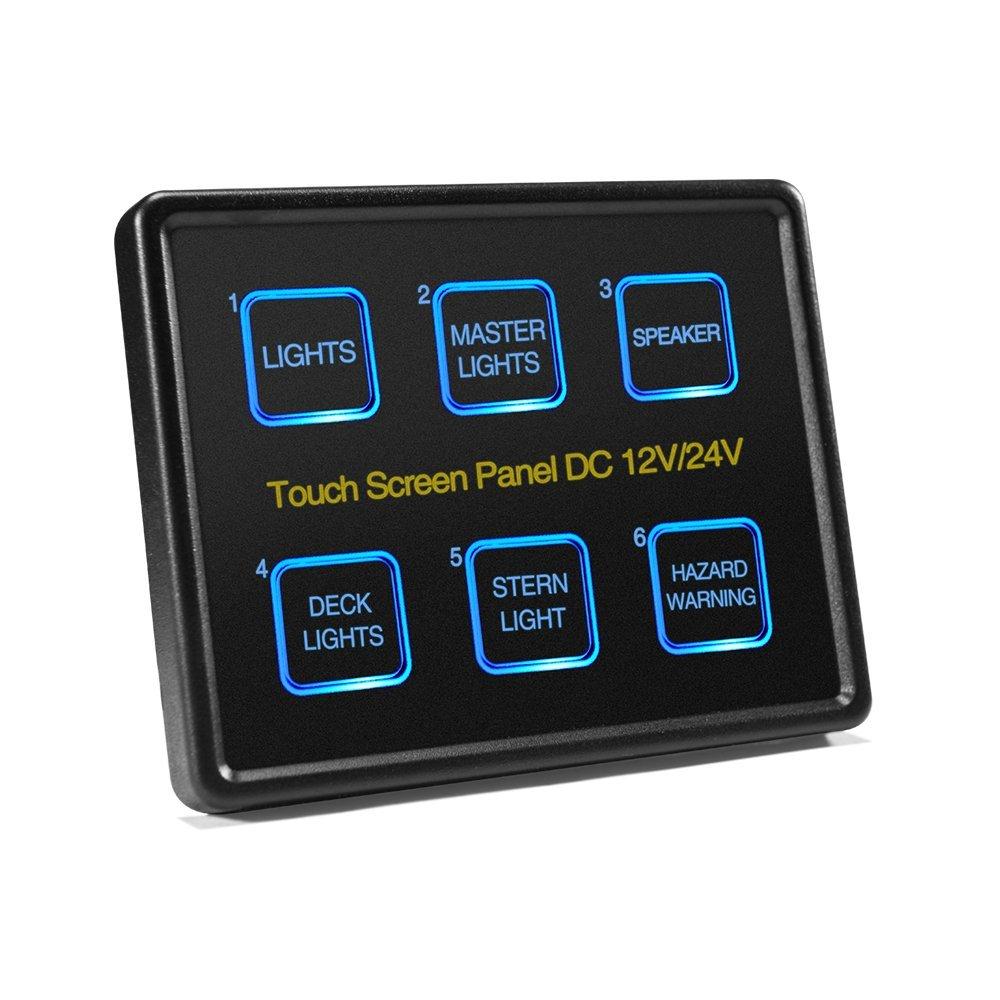 12V/24V 6 Gang LED Switch Panel Slim Touch Control Panel Box for Car Marine Boat Caravan
