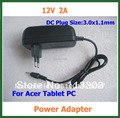 100pcs 12V 2A Charger 3.0*1.1mm Power Adapter Supply for Acer Iconia Tab A500 A501 A200 A210 A211 A100 A101 DHL Free Shipping