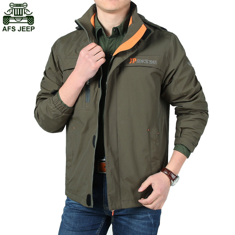 AFS JEEP Brand Men Soft Shell Jacket Waterproof Camping Hiking Hoodie Outdoor Climbing Clothing Hunting Clothes Windbreaker