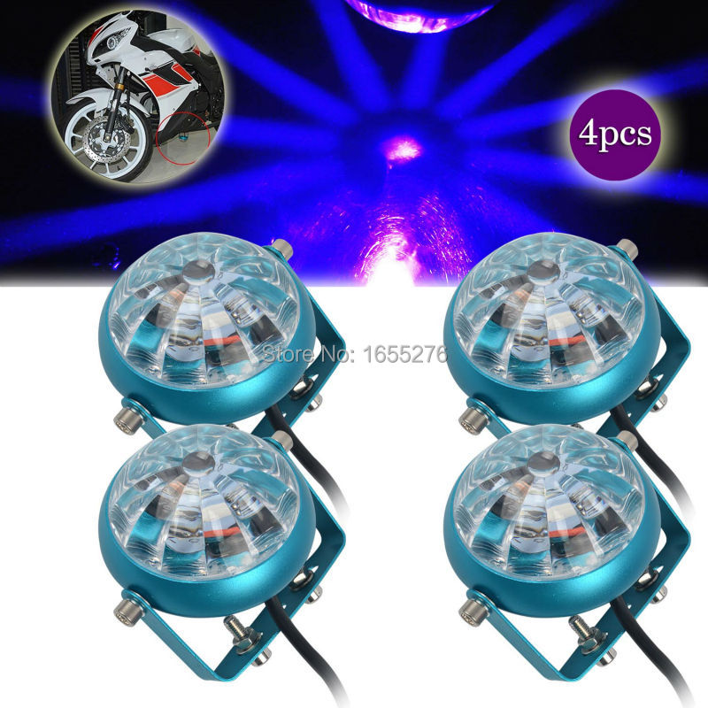 ФОТО Taitian 4PCS Motorcycle Blue LED Decorative Strobe Flash Brake Tail Laser Warning Signal Light 2PCS