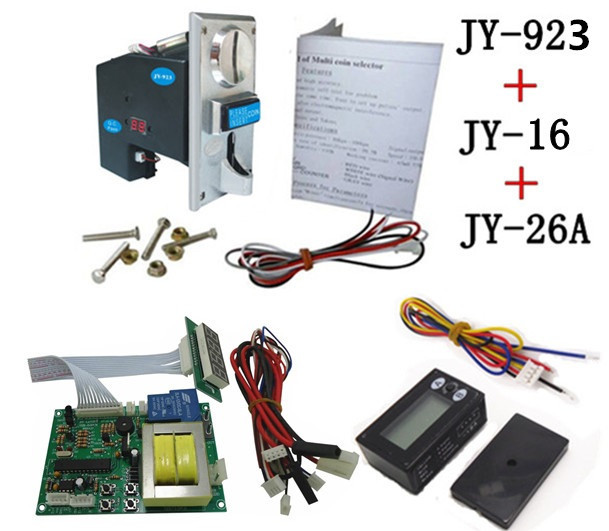 JY923+JY16+JY26A coin operated time control device for cafe kiosk, multi coin selector with 220V timer board and reset counter