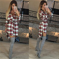 2016 Russia Autumn Winter Women Long Sleeve Blouses Shirts Fashion Plaid Sashes Turn-down Collar Cute Women Shirt Blouses Bluas