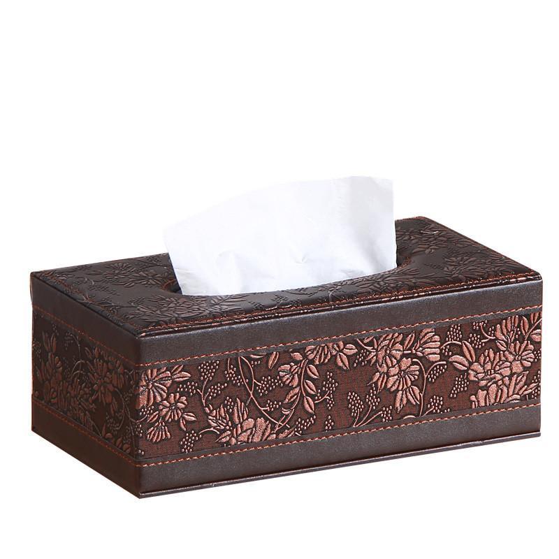 Retro Pu Leather Vintage Rectangular Tissue Paper Napkin Box Case Household Office Napkin Towel Holder Dispenser Cover Cases