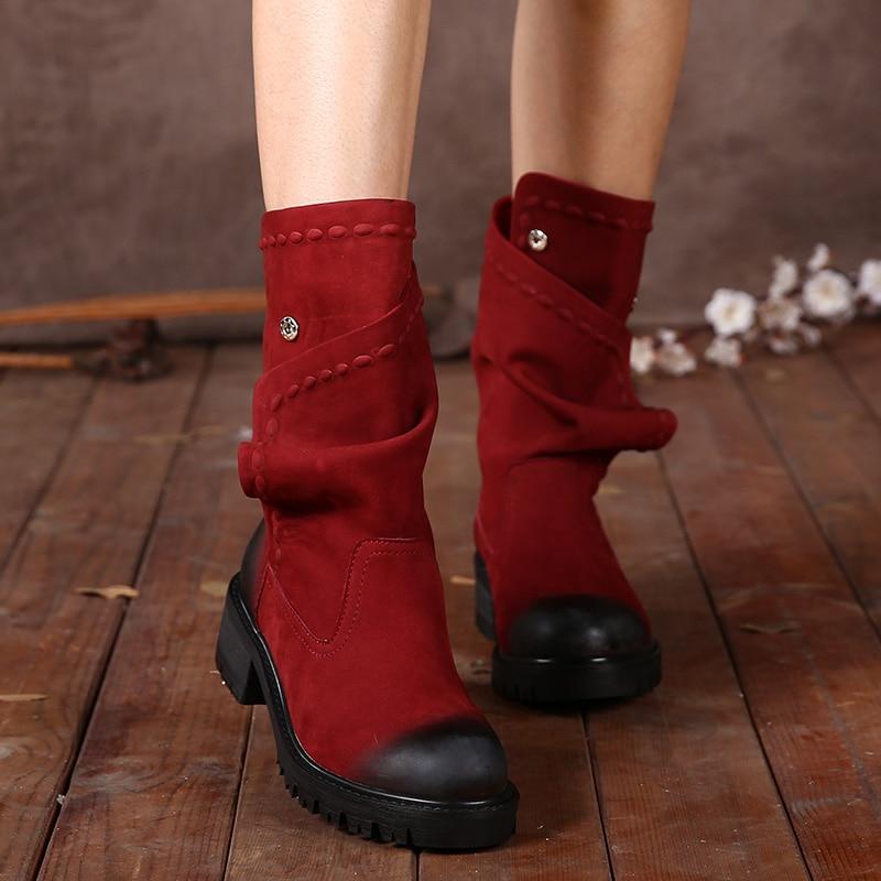 Ayakk.'ten Diz Altı Çizmeler'de Ayakkabı kadın 2017 el yapımı orta buzağı hakiki deri kadın çizmeler bahar düşük kalın topuklu düğmesi yuvarlak Toes bayanlar ayakkabı'da  Grup 1