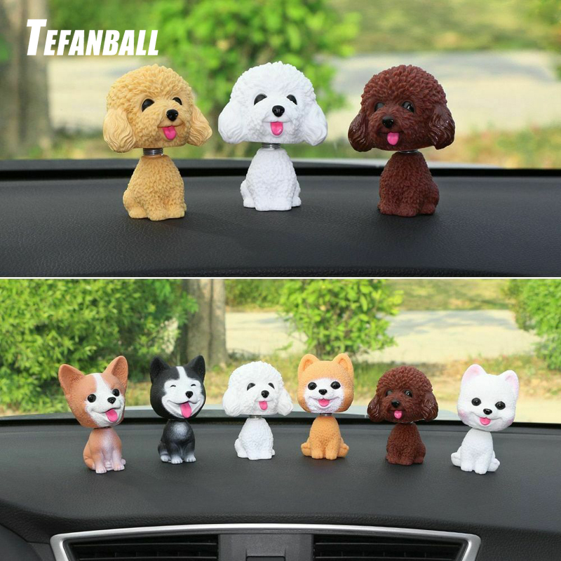 Car Ornament Cute Shake Head Nodding Dog Doll Automotive Interior Dashboard Decoration Bobblehead Puppy Figure Toys Accessories-in Ornaments from Automobiles & Motorcycles
