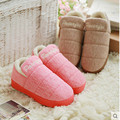 2017 de Invierno antideslizantes de Algodón Acolchado Zapatillas de Casa Las Mujeres de Interior \ Piso Al Aire Libre Espesar Caliente Zapatillas Zapatos Planos envío Gratis