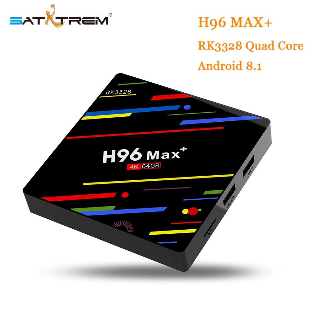 Satxtrem H96 MAX плюс Android 8,1 smart ТВ коробка 4 ГБ Оперативная память 64 ГБ Встроенная память Декодер каналов кабельного телевидения RK3328 2,4 г/5 г Wi-Fi 4 К H....