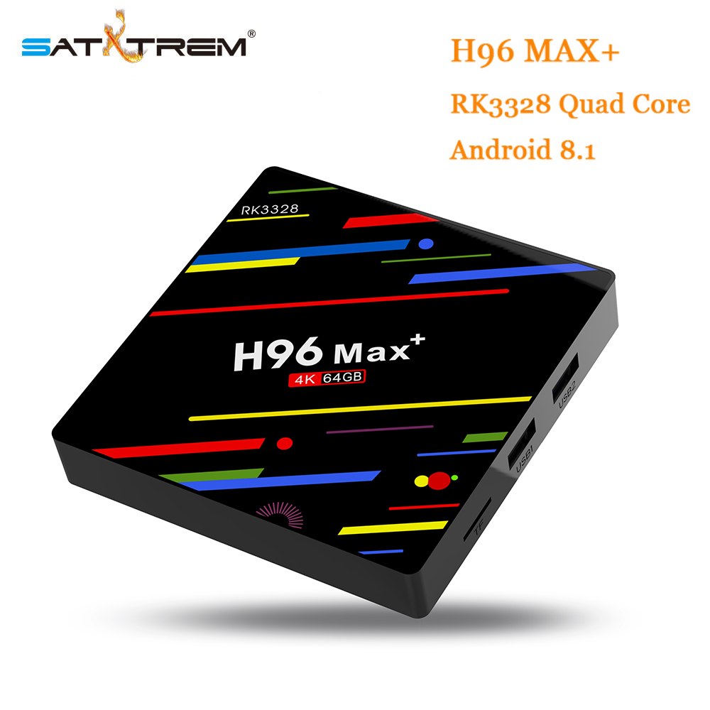 Satxtrem H96 MAX Plus Android 8.1 smart TV Box Set Top Box RK3328 64 4 gb RAM gb ROM 2.4 g/g Wi-fi 4 5 k H.265 4 gb 32 gb Media Player