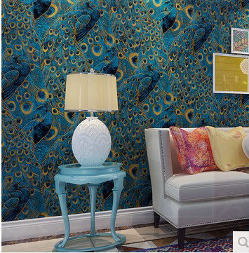Super Quality Eco Friendly Pure Wallpaper Wallpapers Roll Peacock Pattern TV Background Home Decor