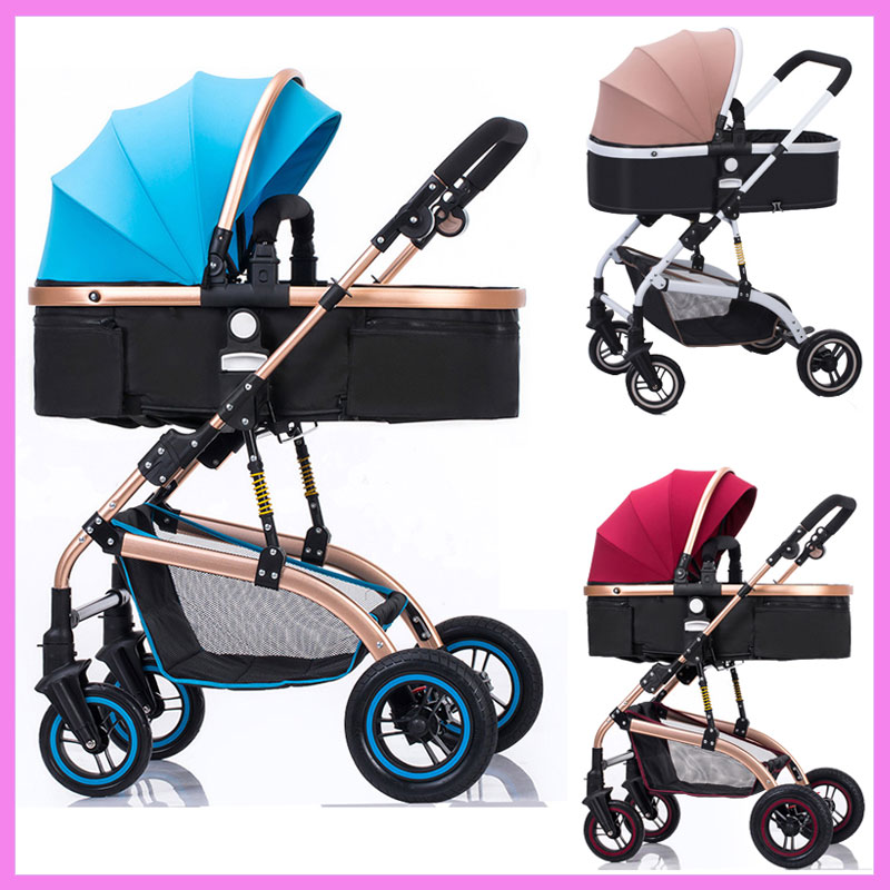 High Landscape Reverse Handle Baby Trolley Sit Flat Lying Folding Baby Stroller 3 In 1 Baby Carriage Car Seat Cradle Pushchair folding baby stroller lightweight baby prams for newborns high landscape portable baby carriage sitting lying 2 in 1