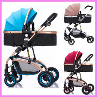 High Landscape Reverse Handle Baby Trolley Sit Flat Lying Folding Baby Stroller 3 In 1 Baby Carriage Car Seat Cradle Pushchair