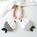 Fish Plush Couple Kiss Fish Round Cushion Wave Print Striped Animal Shape Throw Pillow Kids Toys Baby Doll  Wedding Gifts