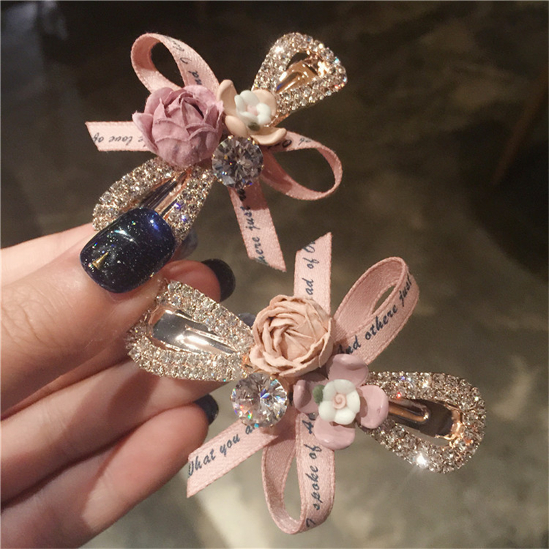 Korean Fashion Flower Hair Clip Crystal Bow Ribbon Hairpins Shiny Rhinestones Boutique Women Hair Accessories Ponytail Holder