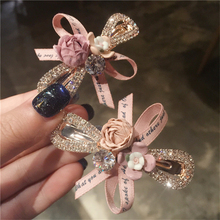 Korean Fashion Flower Hair Clip Crystal Bow Ribbon Hairpins
