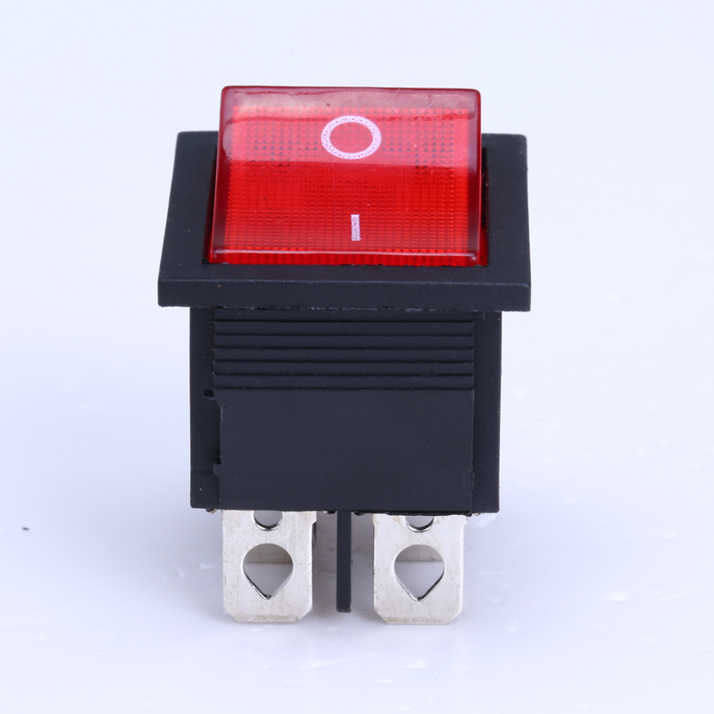 HOT 10Pcs/lot KCD4-202N Boat Rocker Switch 6 Pin On-Off  With  Red Light or Green Light 16A 250VAC promotion 5 pcs x red light illuminated double spst on off snap in boat rocker switch 6 pin