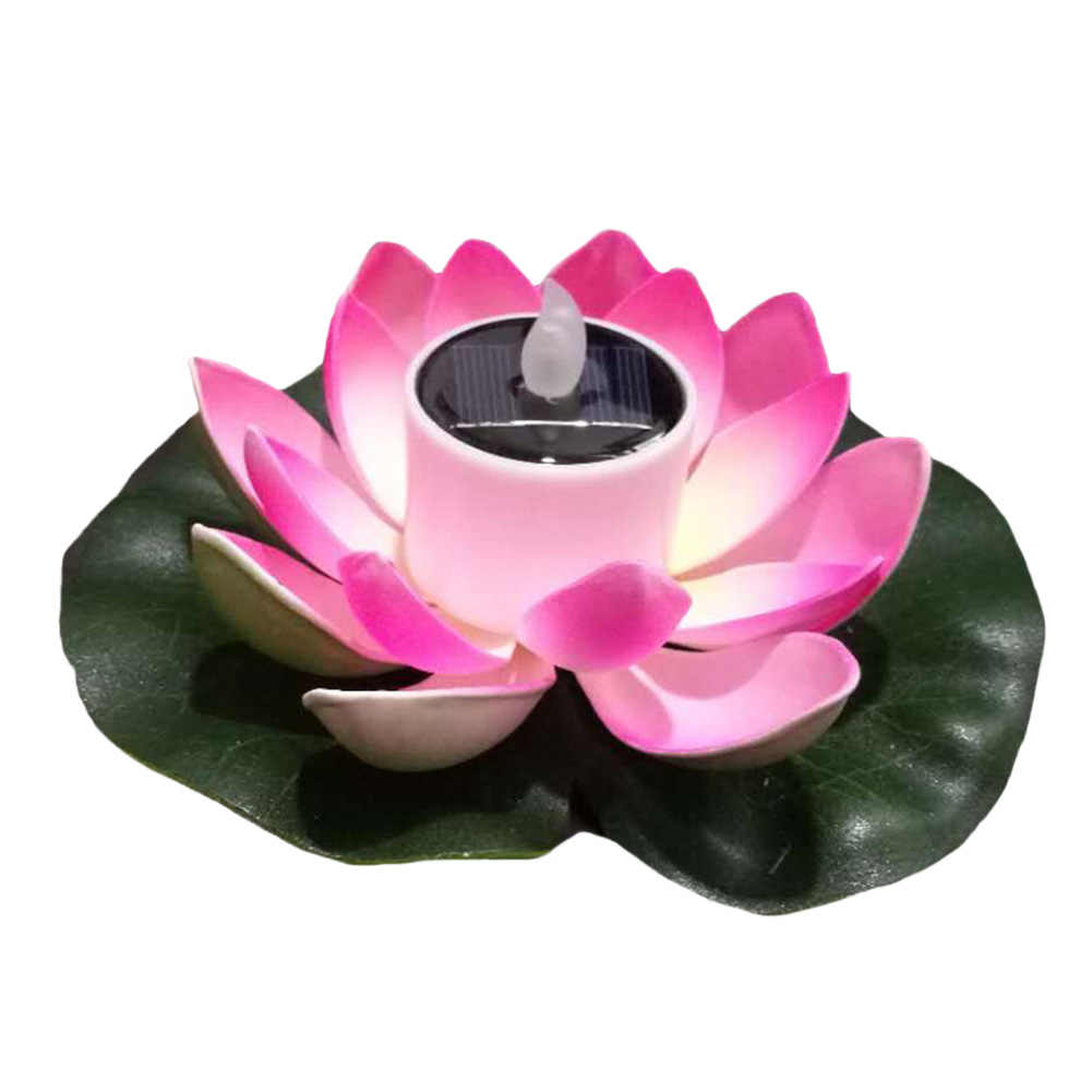 Waterproof Lake Wishing Color Changing Led Eco-friendly River Solar Powered Artificial Flower Night Pool Outdoor Candle Light