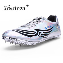 Thestron 2019 Track and Field Shoes Man Athletics Lightweight Comfortable Running Nails Sneaker Male Gold Silver Spikes Shoe