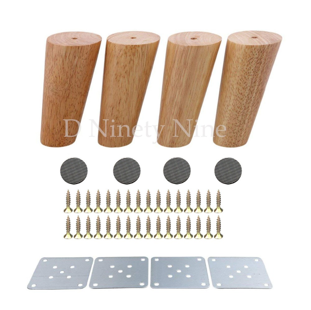 Oak Wood 150mm Height Reliable Furniture Leg with Iron Plate Sofa Table Cupboard Feet Set of 4 title=