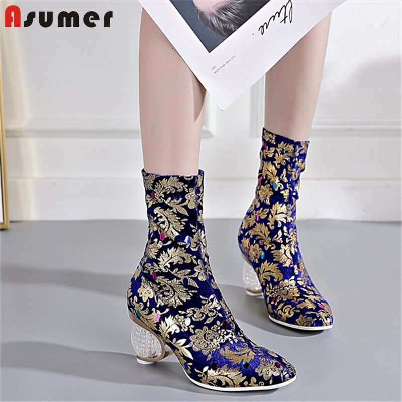 ASUMER Women Boots Prom-Shoes Crystal-Heels Autumn Big-Size Fashion Ladies Square Toe