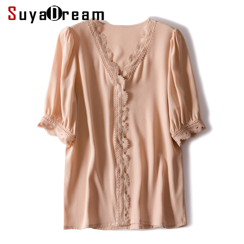 Women Blouse 100 REAL SILK Crepe Lace Office Lady Blouse Shirt V neck 2019 Spring Summer