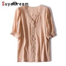 SuyaDream بلوزة النساء 100% الحرير الحقيقي كريب الدانتيل مكتب سيدة بلوزة قميص الخامس الرقبة 2020 الربيع الصيف OL بلوزة قميص الوردي