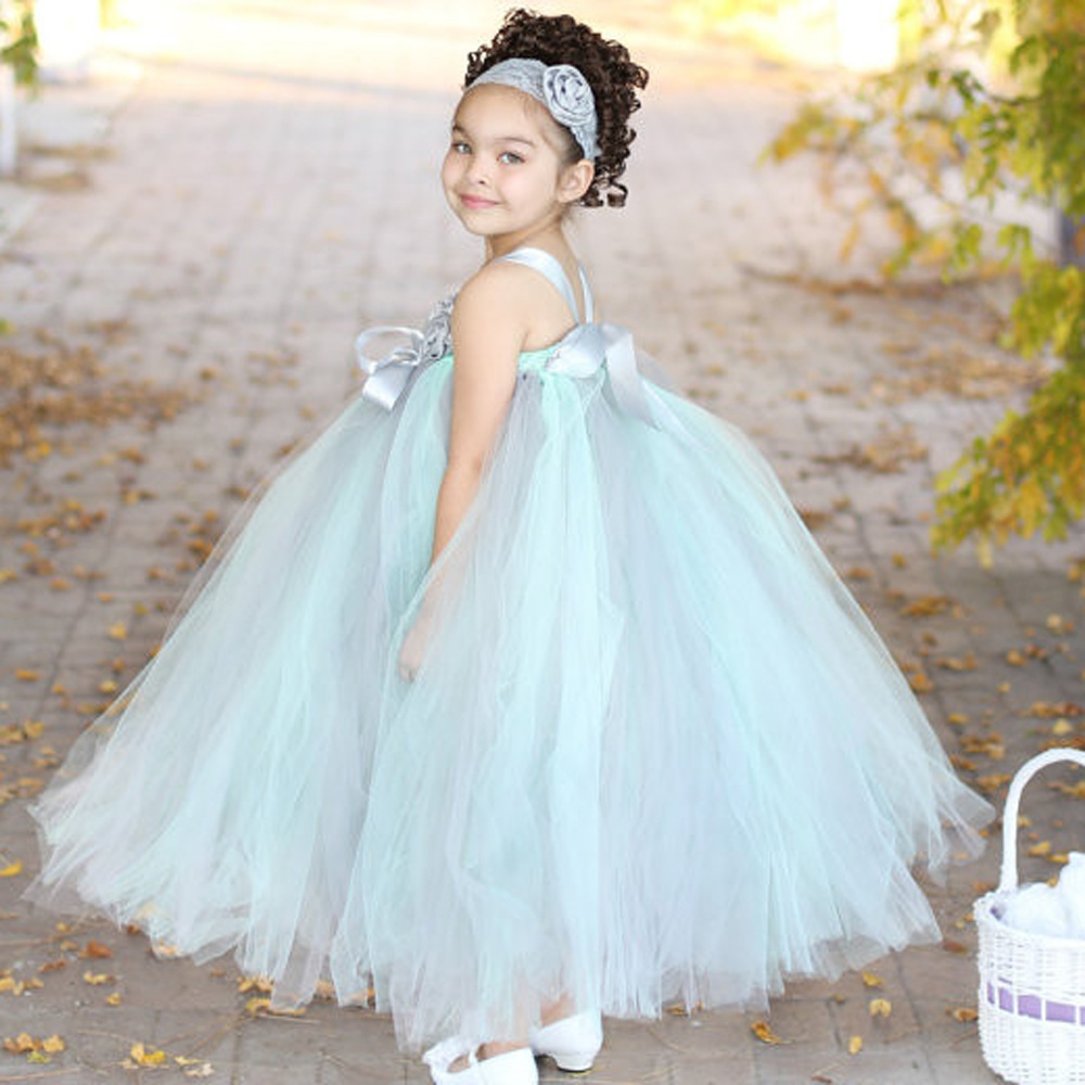 Mięta Zielona i Szara Couture Wedding Flower Girl Tutu Sukienka Baby Dancing Birthday Dress Summer Kids Photo Clothing TS054