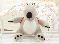 new small plush Unlucky bear toy creative gray bear toy with a bag gift about 30cm