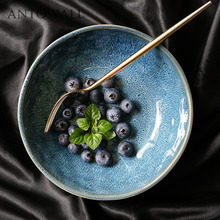 ANTOWALL Japanese ceramic tableware blue shallow mouth pasta ramen bowl fruit salad bowl instant noodle soup bowl home 8 inch creative japanese ramen instant noodle bowl large ceramic salad bowl fruit dish soup spaghetti pasta microwave tableware