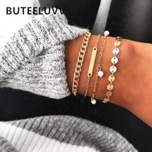 цена на BUTEELUVV Punk Chunky Chain Bracelets for Women Elegant Delicate Gold Color Metal Sequins Chain Bracelets Set Fashion Jewelry