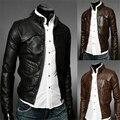Mejor calidad de los hombres de cuero corta chaqueta de invierno nuevo ocasional Adelgaza Equipada negro brown Motocycle Chaquetas De Gamuza abrigo masculino