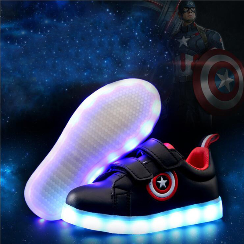 Mumoresip USB Charging Kids Shoes Glowing Sneakers LED Sneakers Light Up Boys Girls Shoes Captain America Led Luminous Sneakers