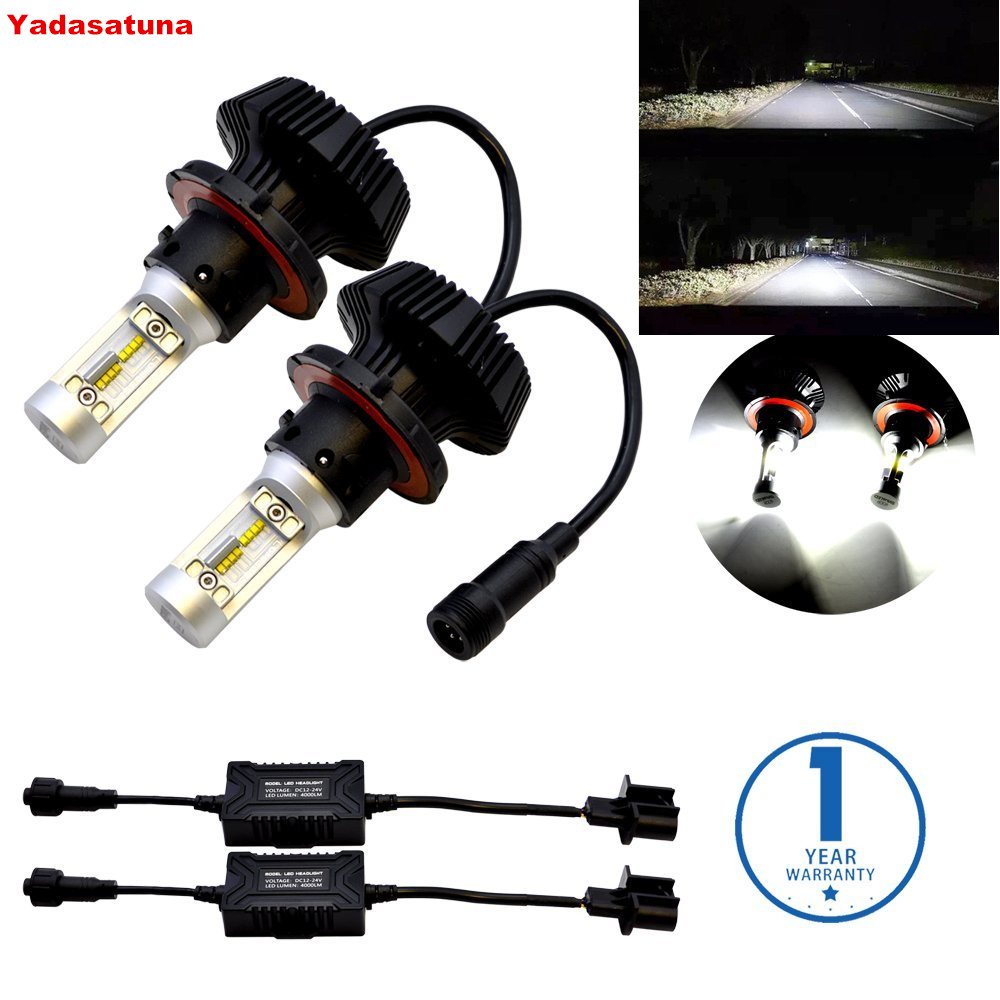 Pair 6000K White Lumiled ZES Chip 80W LED Bulbs Conversion Kit for Car Headlights Fog Lights DRL H13 9008 Dual Hi Low Beam