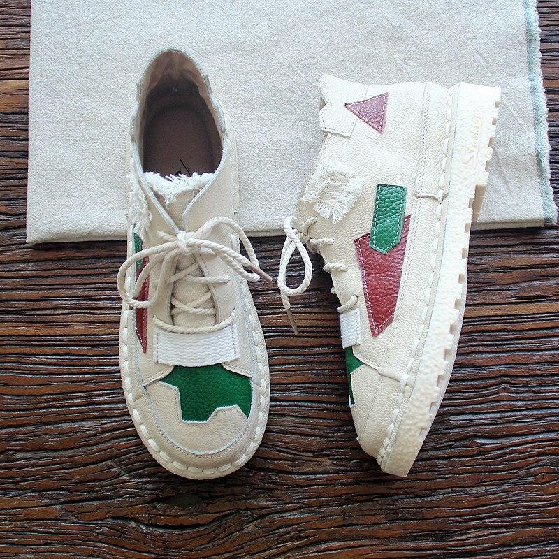 HUIFENGAZURRCS De cuero genuino de las mujeres artesanía Original botas a juego con los colores y cordones suela suave tendones tobillo botas-in Botas hasta el tobillo from zapatos    2