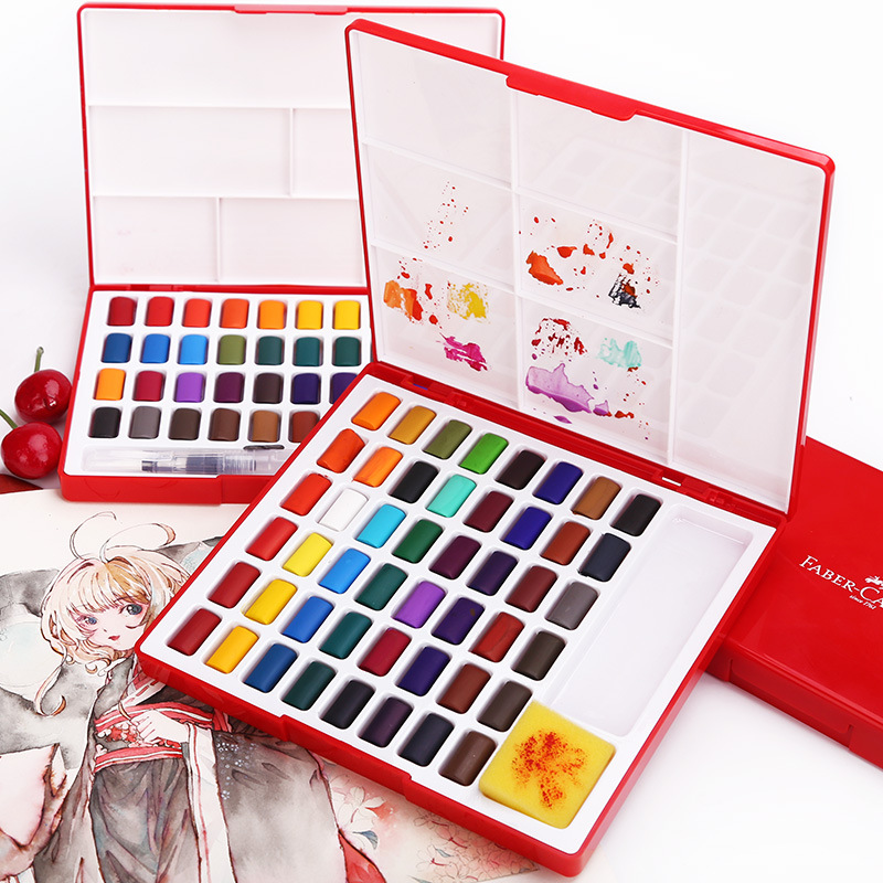 Faber-Castell 24/36/48Colors Solid WaterColor Painting Set Water Brush Bright Color Portable Watercolor Pigment Gift Box