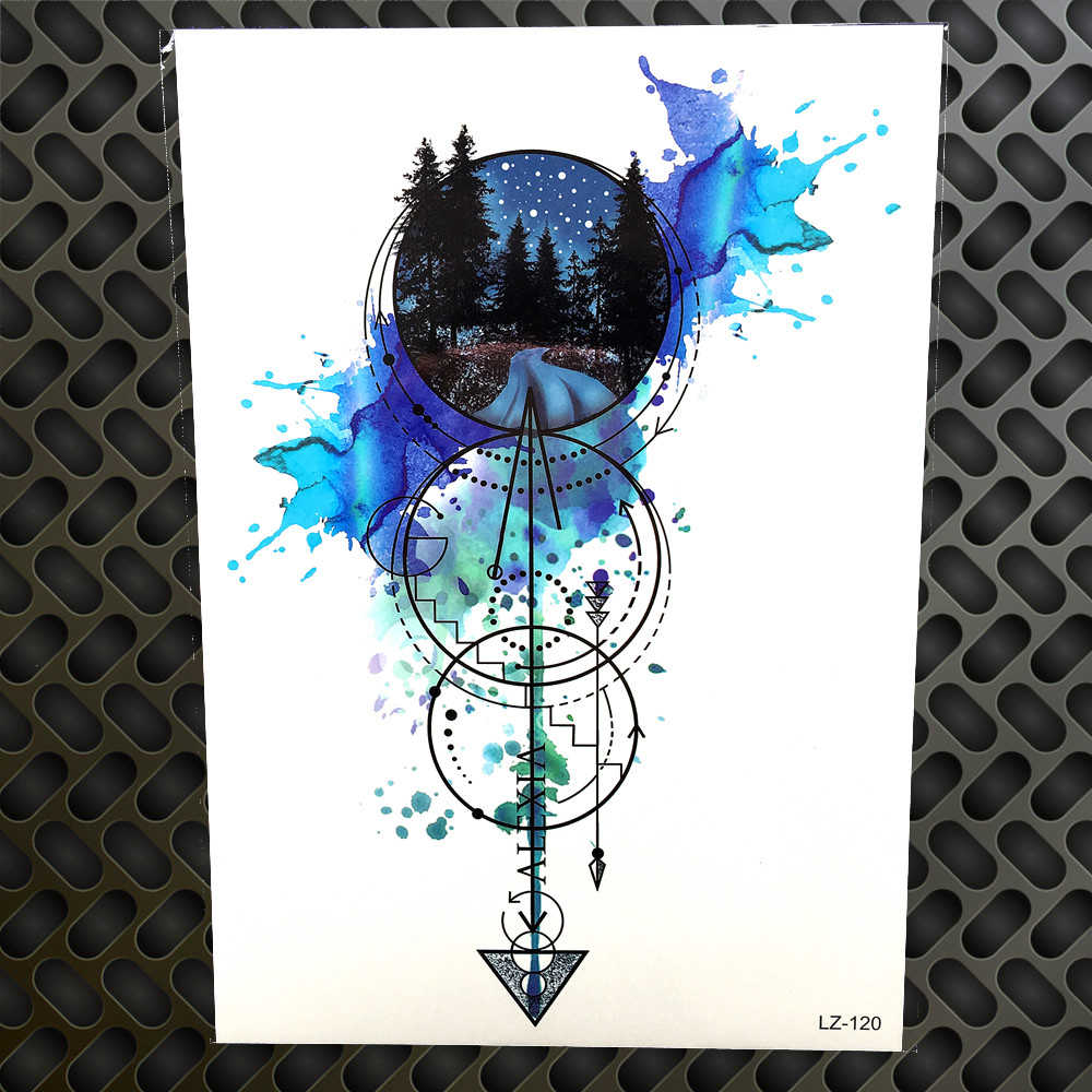 watercolor geometric circle arrow temporary tattoo waterproof forest anchor fake arm tatoo for men women flash tattoo stickers arm tatoos tatoo for manfake arm aliexpress watercolor geometric circle arrow