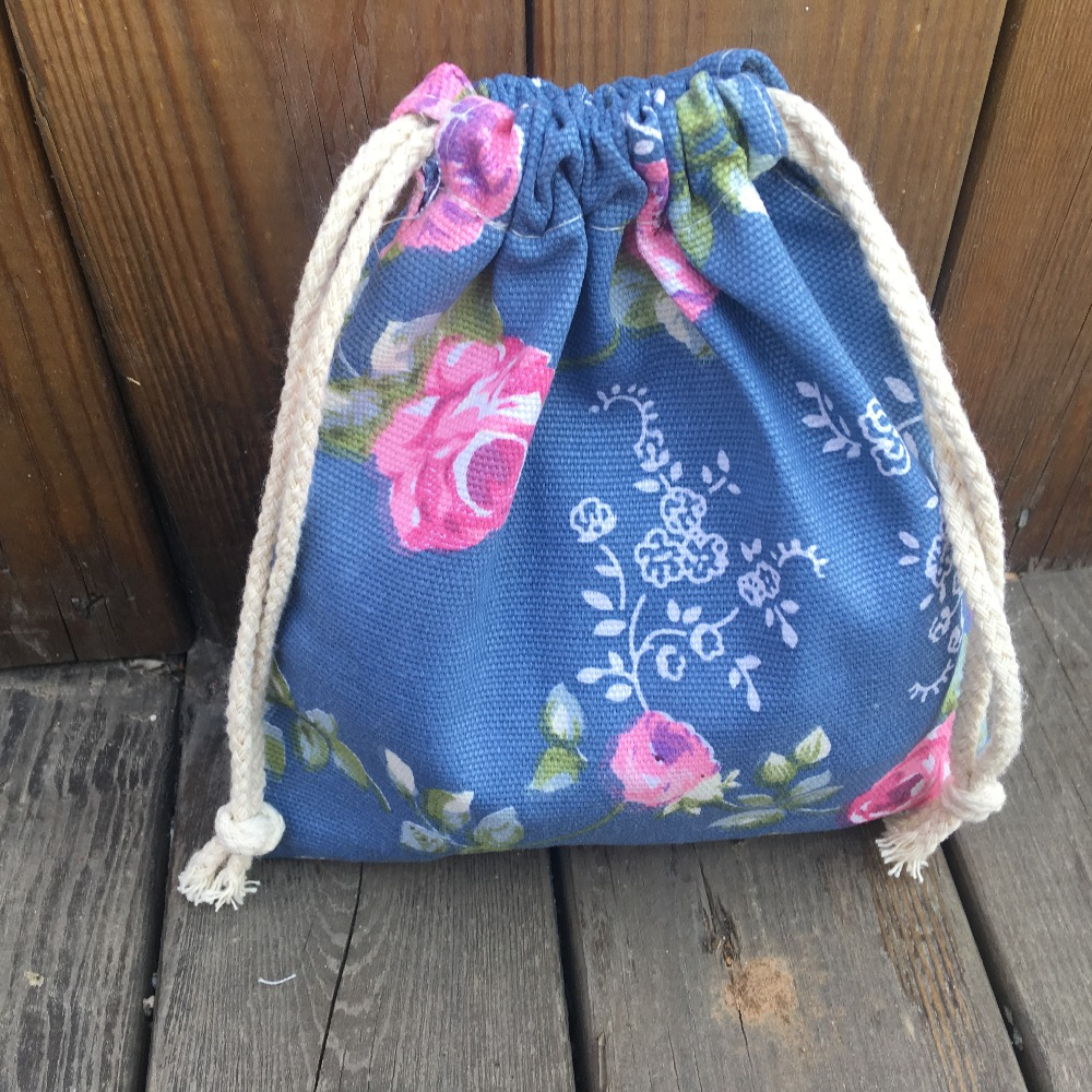 Cotton Canvas Drawstring Organized Pouch Party Gift Bag Rose Flower Blue Base YILE9318c