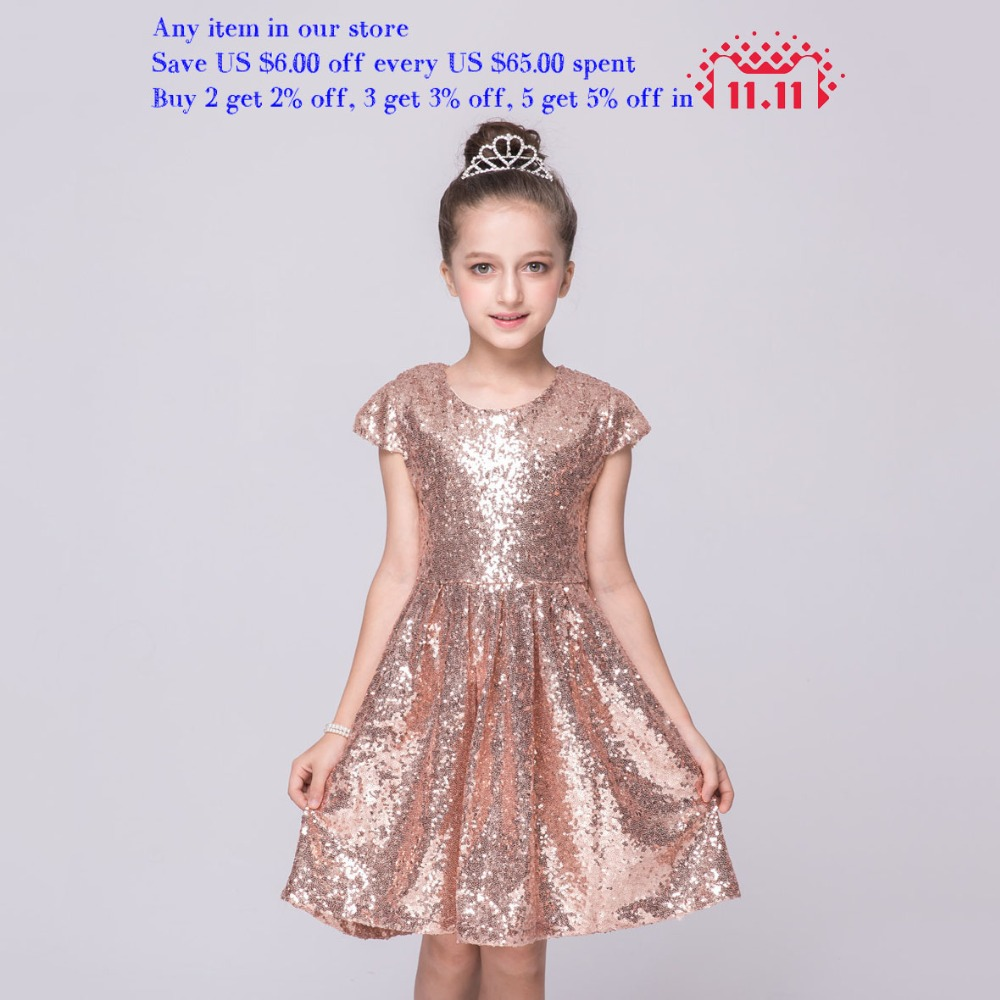 Kids Knee Length Blue Hot Pink Pink Bling Bling Party Dresses Children Clothes One Pieces 2-7y Girls Gold Sequin Girls Dress