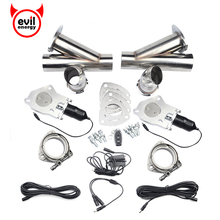 2 Inch Electric Stainless Exhaust Cutout Catback Downpipe Cut Out Muffler Escape With One Remote Control 2 Kits rastp exhaust control valve set with vacuum actuator cutout 3 0 76mm pipe close style with wireless remote controller rs bov041