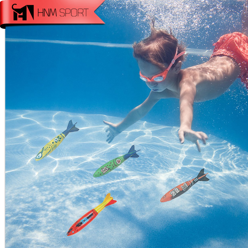HNM SPORT 4PCS/Lot Rubber Swimming Pool Toys Diving Sport Outdoor Pool Throwing Toypedo Bandits Play Water Fun Gifts