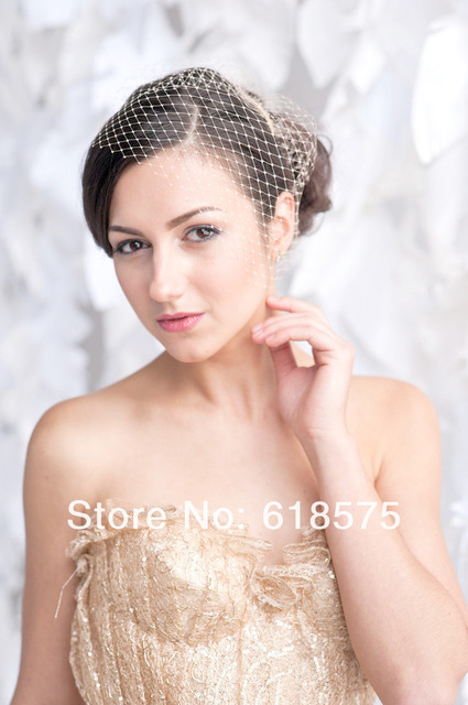 Vintage  Hot Champagne One Layer Short Veils with Blusher Comb Tulle Wedding Bridal Veil