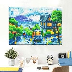 Image 3 - AZQSD peinture en diamant panoramique, cadre lumière LED, cadre, cadre, perceuse ronde 5D, ensemble complet de peinture murale, mosaïque bricolage soi même