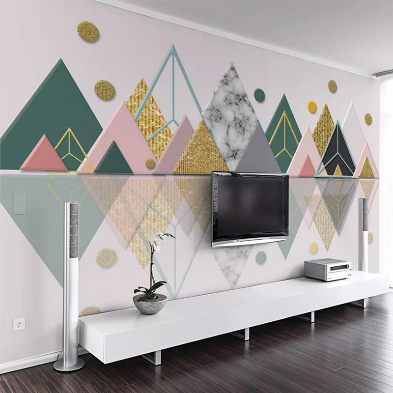 3D Stereo Geometric Triangle Mural Wallpaper Modern Living Room TV Sofa Background Wall Decor Self-Adhesive Waterproof Stickers