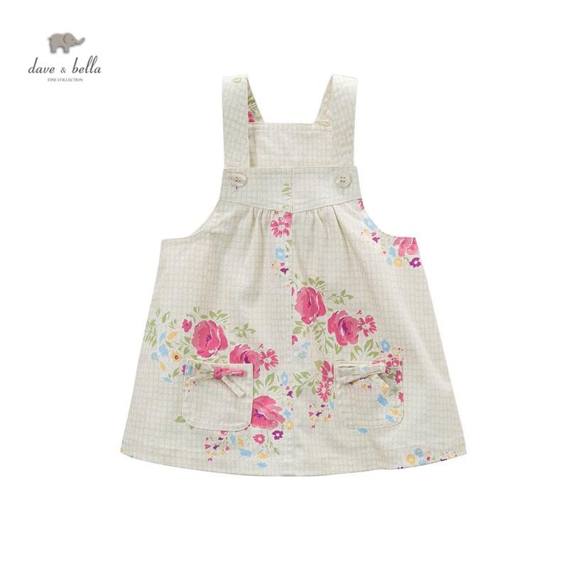 DB4472 dave bella baby girl flower printed dress cute Lolita suspender mini dress цена 2017