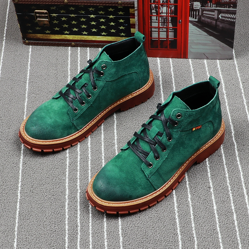 CuddlyIIPanda Men Fashion Ankle Boots Autumn Winter Fashion Green Short Boots Leather Short Boots Botas Hombre Green Men Shoes