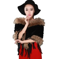 European Fashion Women Fur Coat New Winter Style 100% Real Fur Outerwear Rabbit Fur Knitted Ladies Cloak Coats Brand CT304