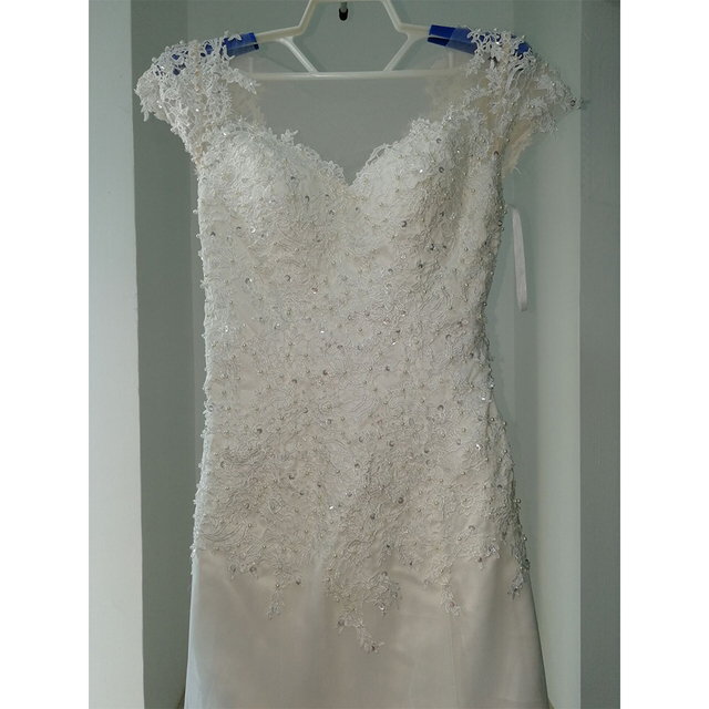Fansmile Illusion Vestido De Noiva White Backless Lace Mermaid Wedding Dress 2019 Short Sleeve Wedding Gown Bride Dress FSM-453M 4